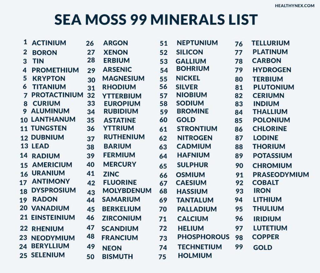 Sea moss 99 minerals List : vitamins and minerals in  irish moss or sea moss